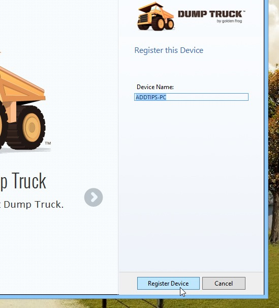 Dump Truck_Setup_Device Name