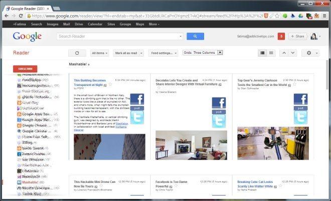 Grid Preview For Google Reader