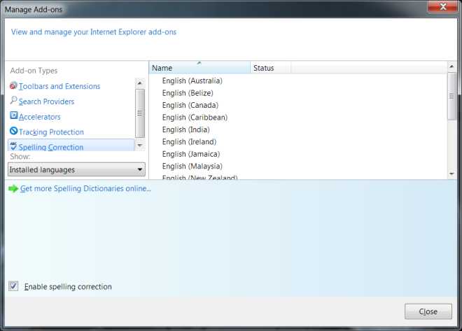 IE 10 spell check