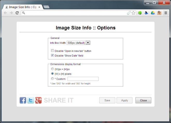Image Size Info  Options