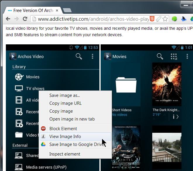 Image Size Info context menu