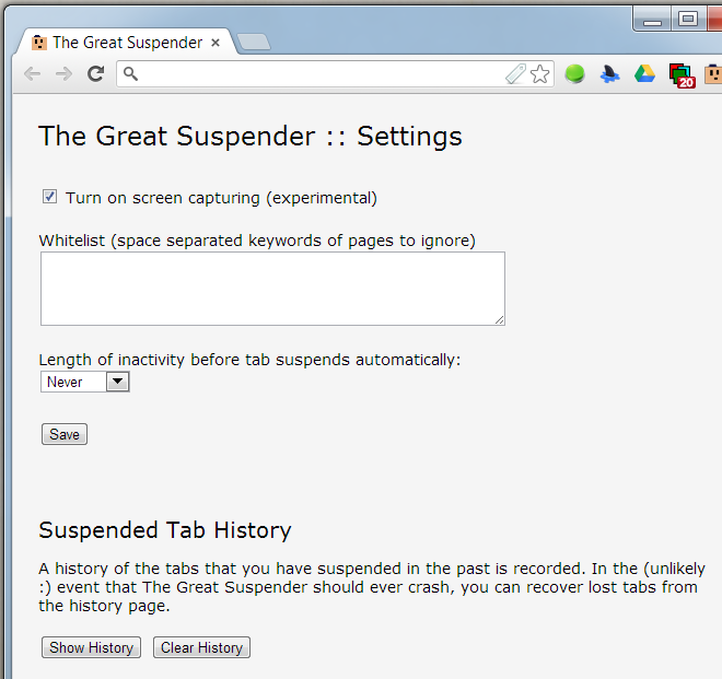 The Great Suspender settings