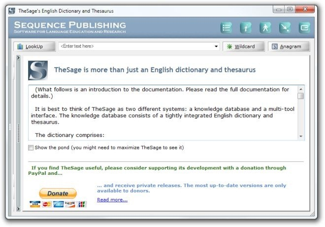 TheSage's English Dictionary and Thesaurus Introduction