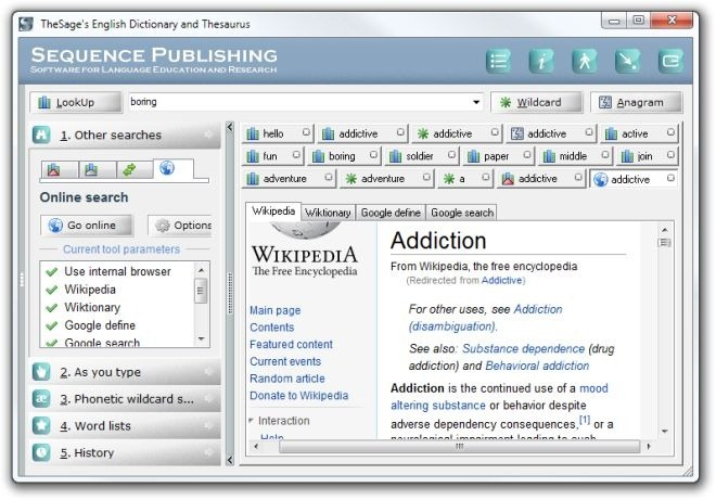 TheSage's English Dictionary and Thesaurus Online Search