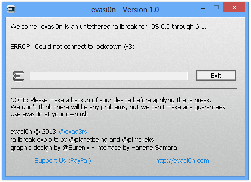 evasi0n lockdown error