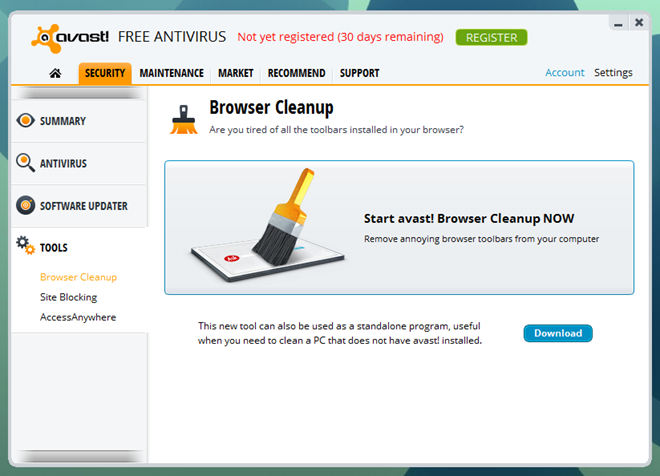 Avast 8_Browser Clean Up Tool