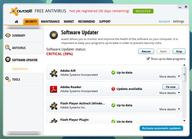 Avast 8_Software Updater Main