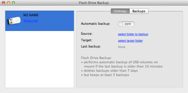 Flash Drive Backup settings