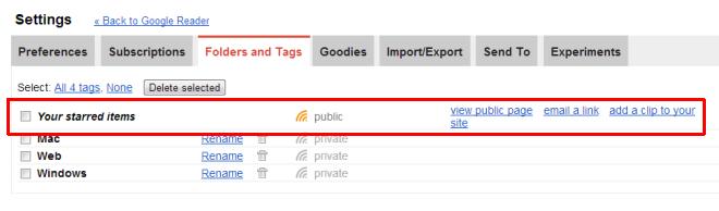 Google Reader tags