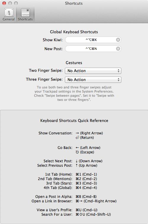 Kiwi shortcuts