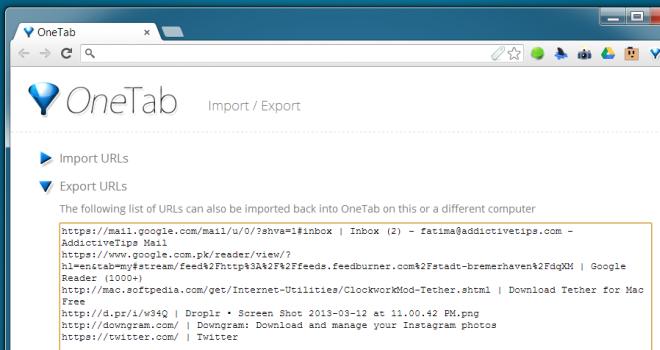 OneTab import-export