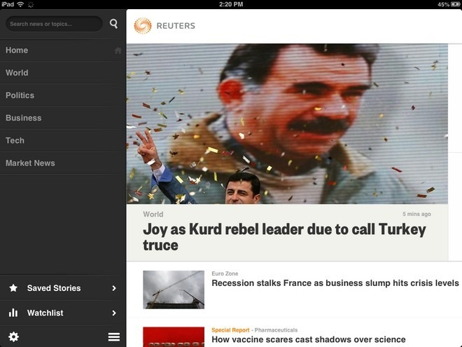 Reuters iOS Home