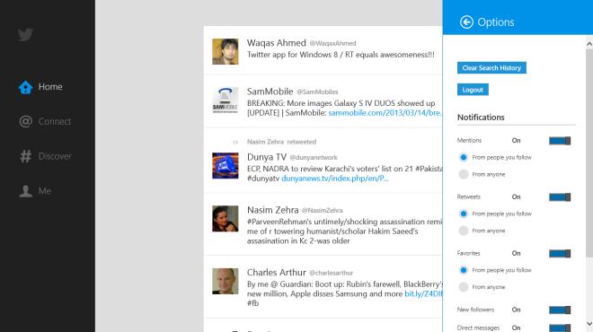 Twitter_Windows 8_Options