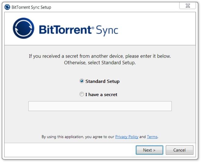 BitTorrent Sync Setup