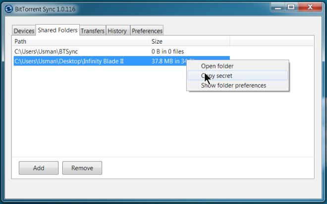 BitTorrent Sync copy secret