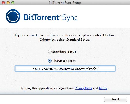 BitTorrent Sync enter secret