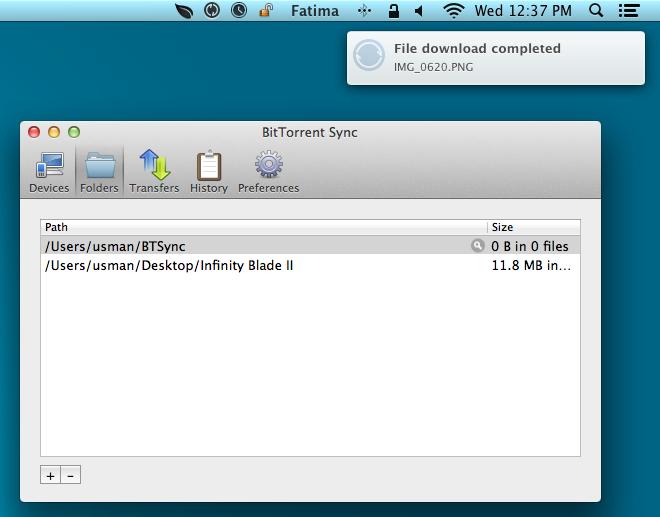 BitTorrent Sync notifications