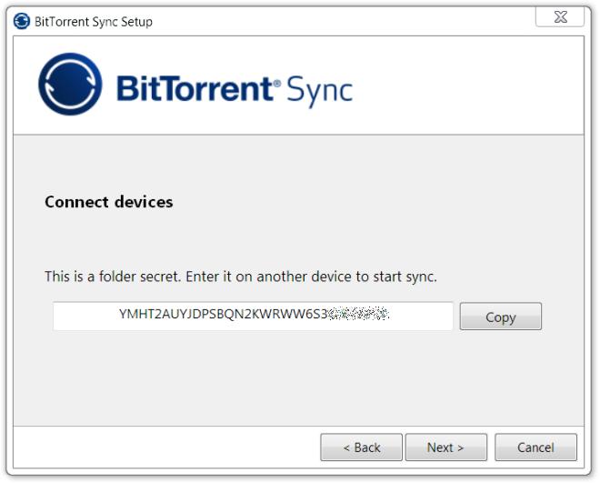 BitTorrent Sync secret key