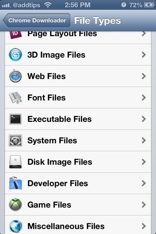 Chrome Downloader iOS File Types
