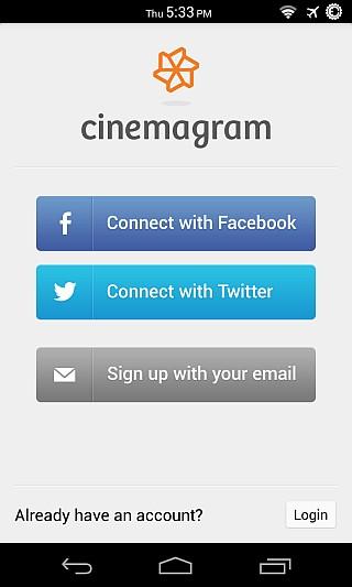 Cinemagram for Android Register