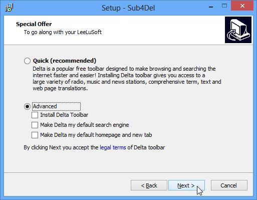 Declining offer to install Delta toolbar
