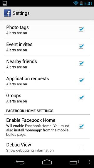Facebook Home FB Settings