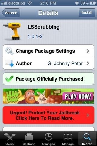 LSScrubbing iOS Cydia