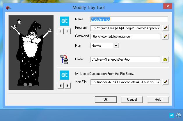 Modify-Tray-Tool-window