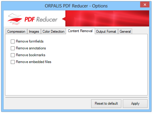 ORPALIS PDF Reducer - Options