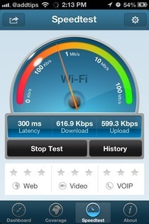 OpenSignal iOS Speed Test
