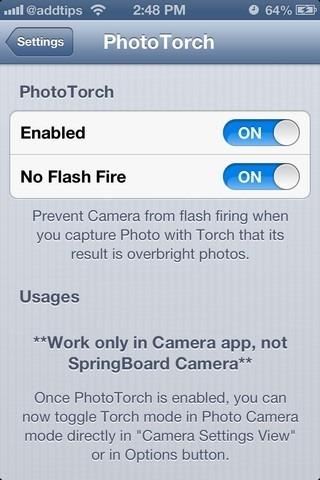 PhotoTorch iOS Settings