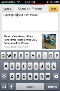 Pocket iOS Send To Friend Menu