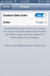 Prime iOS Settings