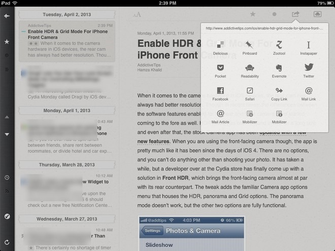 Reeder iPad Share