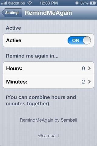 RemindMeAgain iOS Settings