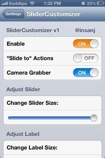 SliderCustomizer Settings