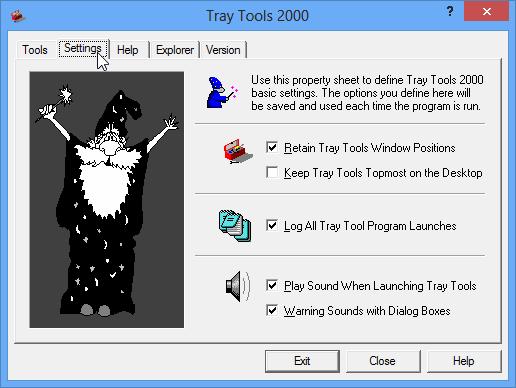 Tray Tools' Settings Tab