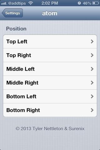 atom iOS Settings