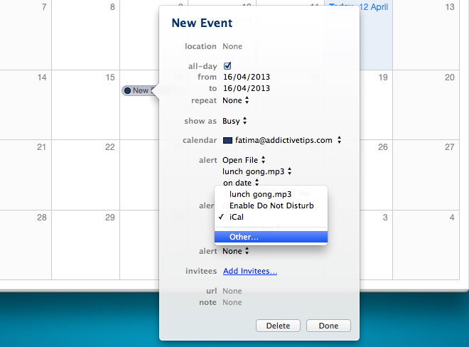 calendar select file