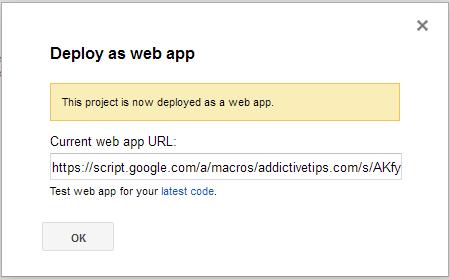 deployed as web app