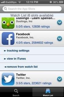 Apps Notifier iOS Watchlist
