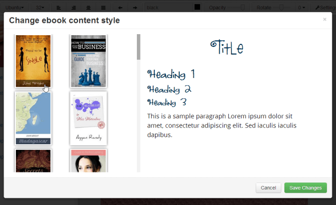 Changing your eBook's content style