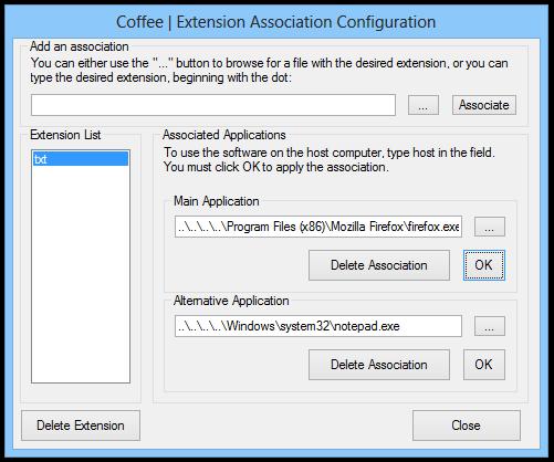 Coffee  Extension Association Configuration