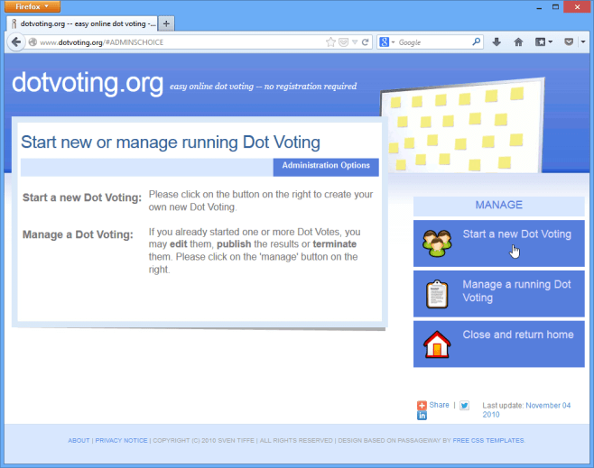 Creating a Dot Vote