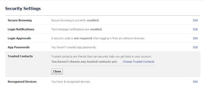 Facebook Security-Settings