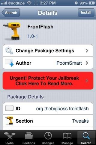 FrontFlash Cydia