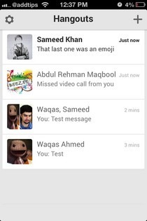 Hangouts iOS Contacts