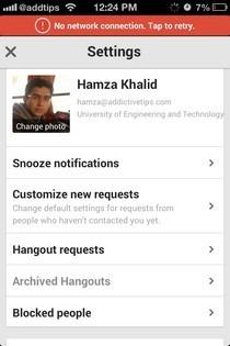 Hangouts iOS Settings