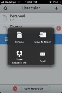 Listacular for Dropbox iOS Options