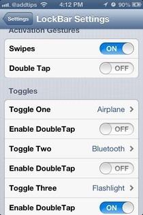 LockBar Settings iOS Menu